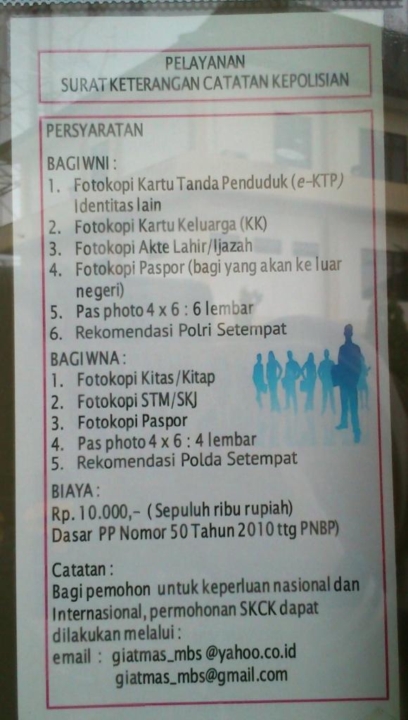 Persyaratan pembatan SKCK di Polrestabes. Foto diambil dari Polrestabes Kota Semarang
